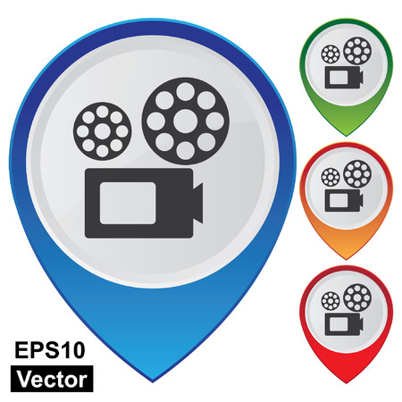 vdo: Vector, Business and Service Concept Present By Colorful Glossy Style Map Pointer With VDO Camera, Movie Theater, Cinema or Travel Attraction Sign Isolated on White Background