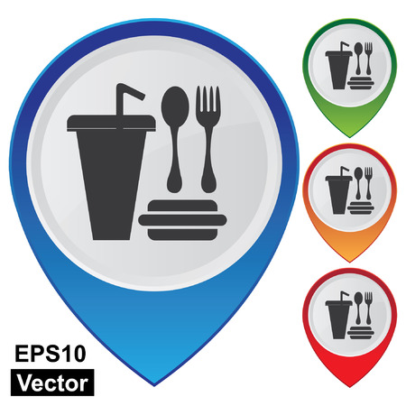 Vector, Business and Service Concept Present By Colorful Glossy Style Map Pointer With Food and Drink, Fast Food Shop, Fast Food Restaurant or Cafeteria Service Sign Isolated on White Background  Vector