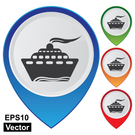 Vector, Business and Service Concept Present By Colorful Glossy Style Map Pointer With Harbor, Sea Port, Wharf, Vessel, Boat, Logistic or Shipping Sign Isolated on White Background  Illustration