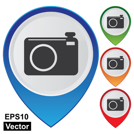 Vector, Business and Service Concept Present By Colorful Glossy Style Map Pointer With Camera, Travel Attraction, Tourist Attraction, Highlight Attraction, or Top Destination Sign Isolated on White Background Reklamní fotografie - 24043365
