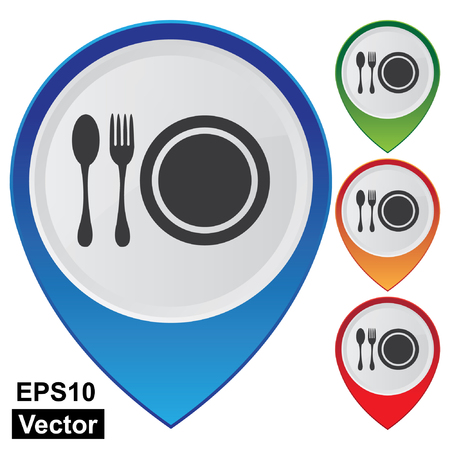 Wektor, Biznes i usługi Praca Present Przez Kolorowe Glossy Style Mapa Pointer z Centrum Żywności, Food Court, Służby Cafeteria, stołówki czy restauracji znak samodzielnie na białym tle Ilustracje wektorowe