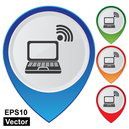 point chaud: Vector, Business et Service Concept Pr�sent Par Style pointeur de carte brillant color� avec Wifi Hotspot, Centre Informatique, Internet Cafe ou IT Mall signe isol� sur fond blanc