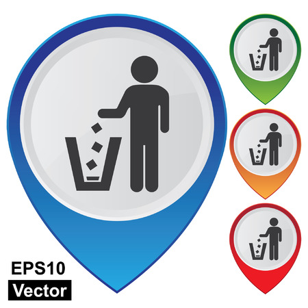polite: Vector, Business and Service Concept Present By Colorful Glossy Style Map Pointer With Litter Bin, Garbage Pail, Ashcan Or Dustbin Sign Isolated on White Background