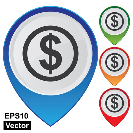 Vector, Business and Service Concept Present By Colorful Glossy Style Map Pointer With Dollar Sign, Bank, Money Exchange or Business Sign Isolated on White Background  Vector