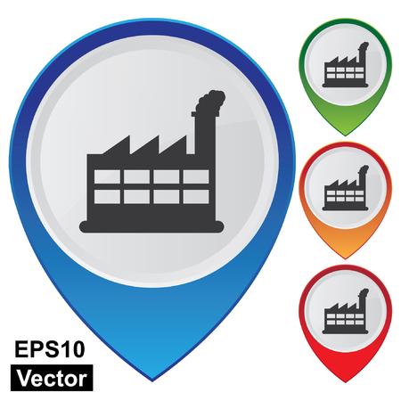 powerplant: Vector, Business and Service Concept presenteren Kleurrijke Glossy Stijl Kaart Wijzer Met Power Plant of Factory teken geà ¯ soleerd op witte achtergrond
