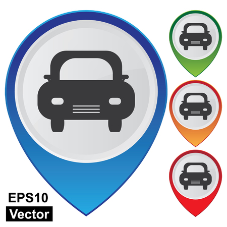 car showroom: Vector, Empresa y Concepto Servicio Present Por coloridos brillantes Aparcamiento Estilo Puntero del Mapa con el coche o el Sal�n de Coches signo aislado en el fondo blanco