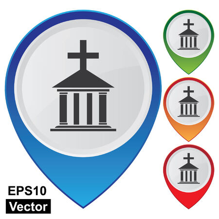 Vector, Business and Service Concept Present By Colorful Glossy Style Map Pointer With Church, Cathedral or Temple Sign Isolated on White Background  Vector