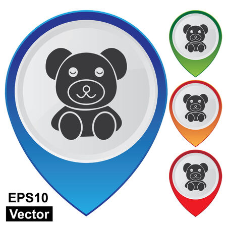 playroom: Vector, Business and Service Concept Present By Colorful Glossy Style Map Pointer With Teddy Bear, Nursery, Preschool, Playroom, Kid, Children or Toy Sign Isolated on White Background