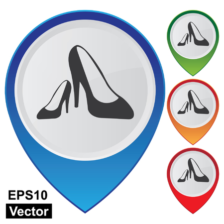 high heeled: Vector, Business and Service Concept Present By Colorful Glossy Style Map Pointer With Women Shoes, High-Heeled Shoes or Fashion Shop Sign Isolated on White Background