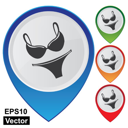 undergarment: Vector, Business and Service Concept Present By Colorful Glossy Style Map Pointer With Women Swimwear, Swimsuit, Underwear or Fashion Shop Sign Isolated on White Background