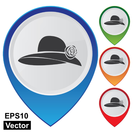 hatband: Vector, Business and Service Concept Present By Colorful Glossy Style Map Pointer With Hat, Fashion or Accessory Shop Sign Isolated on White Background