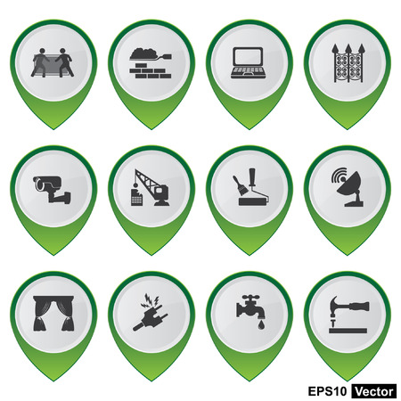 Vector, Business and Service Concept Present By Set Of Green Glossy Style Map Pointer With Home Service Sign Isolated on White Background  Stock Vector - 24016438