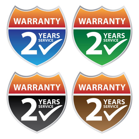 validity: Marketing Campaign, Promotion or Business Concept Present By Colorful Glossy Style Shield or Badge With Warranty 2 Years Service and Check Mark Sign Isolated on White Background