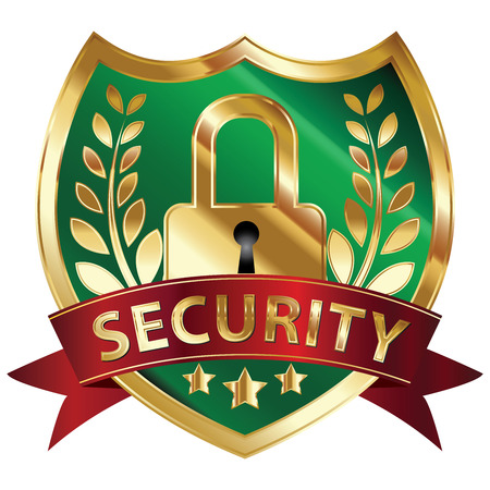 Security, Privacy or Safety Concept Present By Green and Golden Metallic Style Shield Icon, Sticker, Label or Badge With Red Security Ribbon and Key Lock Sign Isolated on White Background Reklamní fotografie - 24016454