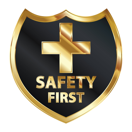 Safety First Concept, Black and Golden Metallic Style Shield With Golden Cross Sign and Safety First Text Isolated on White Background Stock Photo - 24016461
