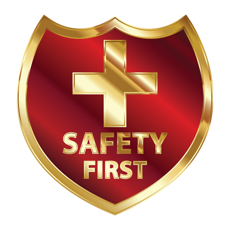Safety First Concept, Red and Golden Metallic Style Shield With Golden Cross Sign and Safety First Text Isolated on White Background Stock Photo - 24016469
