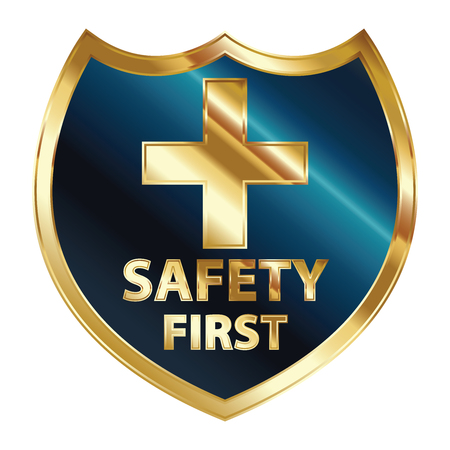 Safety First Concept, Blue and Golden Metallic Style Shield With Golden Cross Sign and Safety First Text Isolated on White Background Stock Photo - 24016470