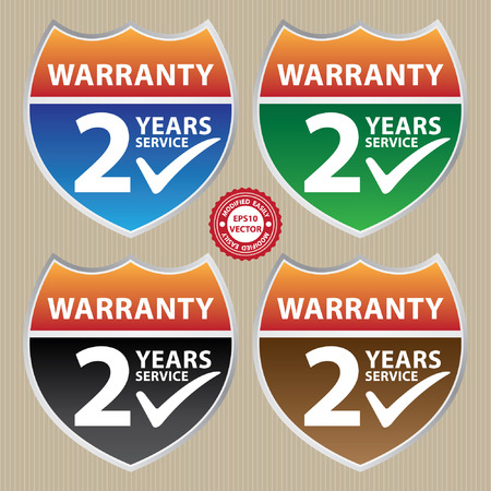 assure: Vector, Marketing Campaign, Promotion or Business Concept Present By Colorful Glossy Style Shield or Badge With Warranty 2 Years Service and Check Mark Sign Illustration
