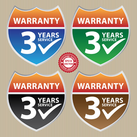 validity: Vector, Marketing Campaign, Promotion or Business Concept Present By Colorful Glossy Style Shield or Badge With Warranty 3 Years Service and Check Mark Sign