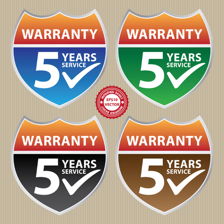 assure: Vector, Marketing Campaign, Promotion or Business Concept Present By Colorful Glossy Style Shield or Badge With Warranty 5 Years Service and Check Mark Sign
