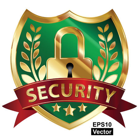 Vector, Security, Privacy or Safety Concept Present By Green and Golden Metallic Style Shield Icon, Sticker, Label or Badge With Red Security Ribbon and Key Lock Sign Isolated on White Background Reklamní fotografie - 24016505
