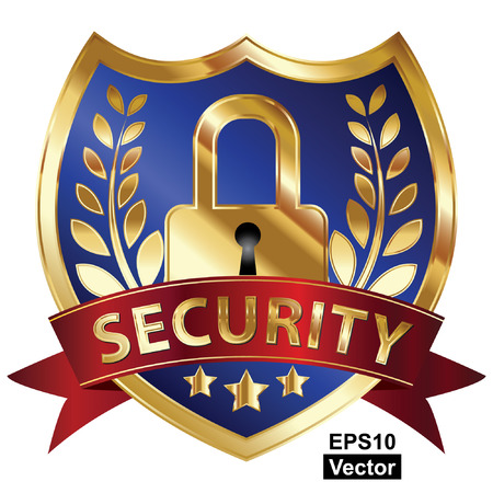 Vector, Security, Privacy or Safety Concept Present By Blue and Golden Metallic Style Shield Icon, Sticker, Label or Badge With Red Security Ribbon and Key Lock Sign Isolated on White Background  Illustration