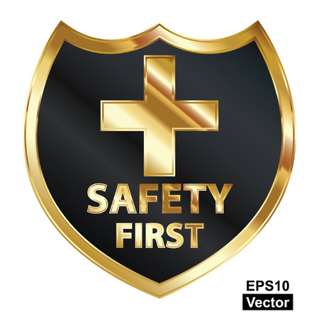 Vector, Safety First Concept, Black and Golden Metallic Style Shield With Golden Cross Sign and Safety First Text Isolated on White Background Stock Vector - 24016508