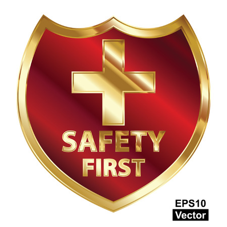 Vector, Safety First Concept, Red and Golden Metallic Style Shield With Golden Cross Sign and Safety First Text Isolated on White Background Stock Vector - 24016509