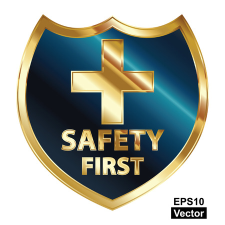 Vector, Safety First Concept, Blue and Golden Metallic Style Shield With Golden Cross Sign and Safety First Text Isolated on White Background Stock Vector - 24016510