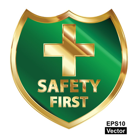 safely: Vector, Safety First Concept, Green and Golden Metallic Style Shield With Golden Cross Sign and Safety First Text Isolated on White Background