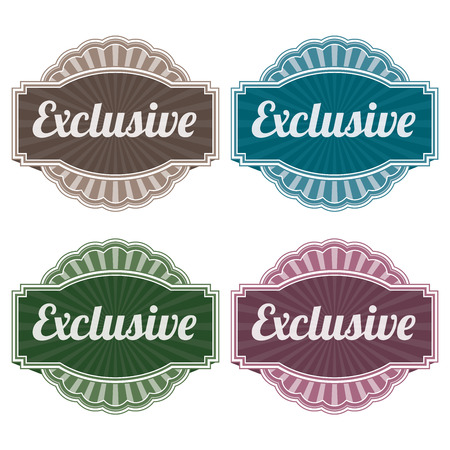 Graphic or Marketing Materials For Marketing Campaign, Promotion or Sale Event Present By Colorful Vintage Style Exclusive Icon or Badge Isolated on White Background photo