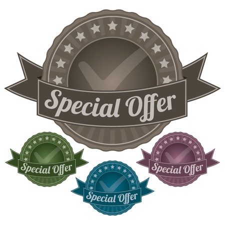 Graphic For Marketing Campaign, Promotion or Sale Event Present By Colorful Vintage Style Special Offer Icon or Badge Isolated on White Background  photo