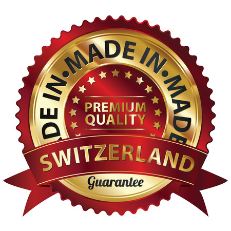 Red and Golden Metallic Made in Switzerland Premium Quality Sticker, Label, Badge, Stamp or Icon photo