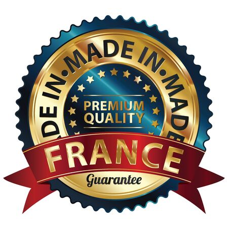 Blue and Golden Metallic Made in France Premium Quality Sticker, Label, Badge, Stamp or Icon photo
