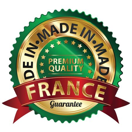 Green and Golden Metallic Made in France Premium Quality Sticker, Label, Badge, Stamp or Icon photo