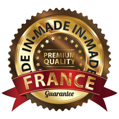 certificated: Brown and Golden Metallic Made in France Premium Quality Sticker, Label, Badge, Stamp or Icon