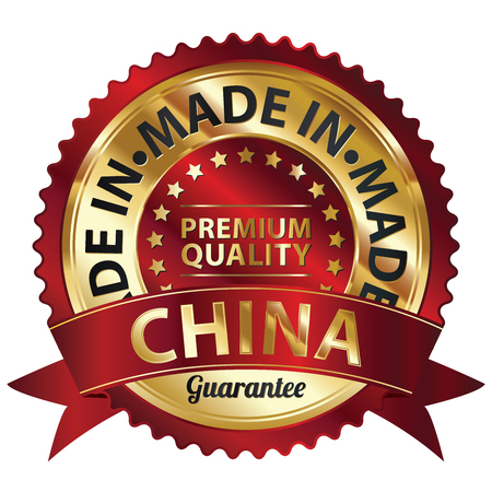 Red and Golden Metallic Made in China Premium Quality Sticker, Label, Badge, Stamp or Icon photo