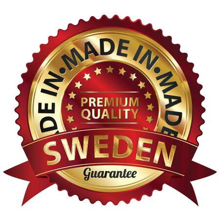 Red and Golden Metallic Made in Sweden Premium Quality Sticker, Label, Badge, Stamp or Icon photo