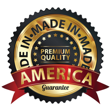 made in: Zwarte en Gouden Metaal Made in Amerika Premium Quality Sticker, Label, Badge, stempel of het pictogram Stockfoto