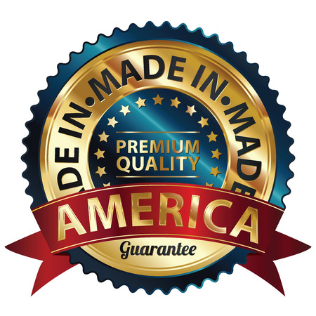 produce product: Blue and Golden Metallic Made in America Premium Quality Sticker, Label, Badge, Stamp or Icon Stock Photo