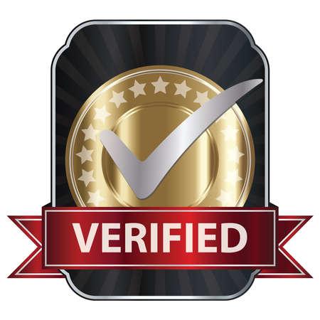 proved: Metallic Verified Medaglia, etichetta o distintivo con nastro rosso e argento segno di spunta isolato su sfondo bianco
