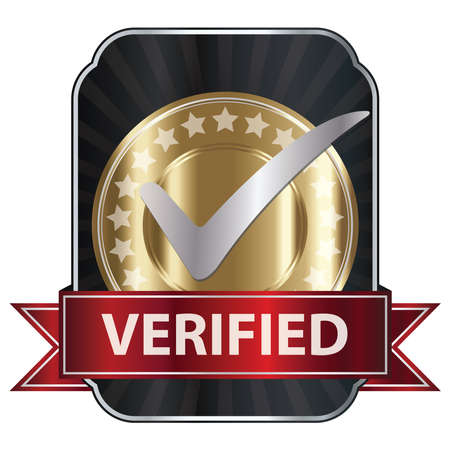 acception: Metallic Verified Medal, Label or Badge With Red Ribbon and Silver Check Mark Isolated on White Background Stock Photo