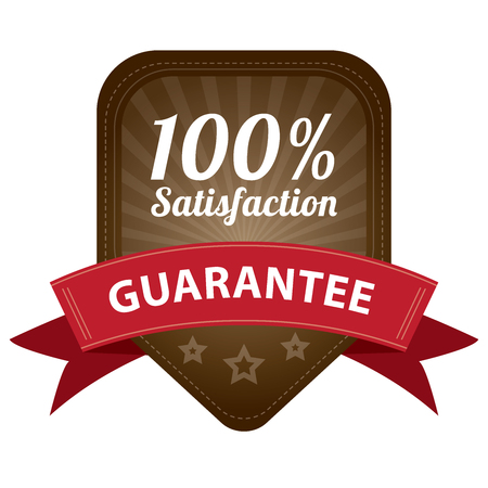 Brown 100 Percent Satisfaction Guarantee Sticker, Label, Stamp, Badge or Icon  forQuality Management Systems, Quality Assurance and Quality Control Concept Isolated on White Background photo