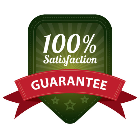 Green 100 Percent Satisfaction Guarantee Sticker, Label, Stamp, Badge or Icon  forQuality Management Systems, Quality Assurance and Quality Control Concept Isolated on White Background photo