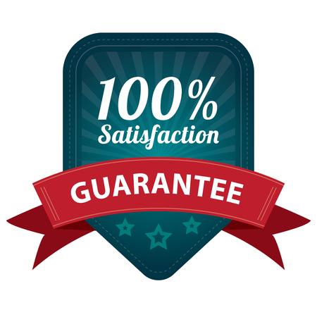 Blue 100 Percent Satisfaction Guarantee Sticker, Label, Stamp, Badge or Icon  forQuality Management Systems, Quality Assurance and Quality Control Concept Isolated on White Background photo