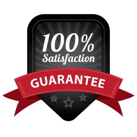 Black 100 Percent Satisfaction Guarantee Sticker, Label, Stamp, Badge or Icon  forQuality Management Systems, Quality Assurance and Quality Control Concept Isolated on White Background photo