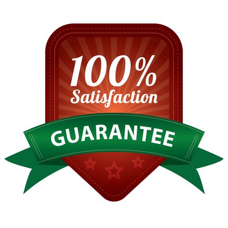 Red 100 Percent Satisfaction Guarantee Sticker, Label, Stamp, Badge or Icon  forQuality Management Systems, Quality Assurance and Quality Control Concept Isolated on White Background photo