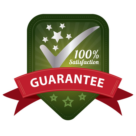 Quality Management Systems, Quality Assurance and Quality Control Concept Present By Green 100 Percent Satisfaction Guarantee Sticker, Label, Stamp, Badge or Icon Isolated on White Background photo