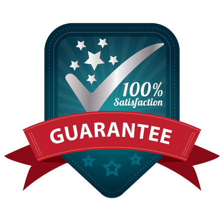satisfy: Quality Management Systems, Quality Assurance and Quality Control Concept Present By Blue 100 Percent Satisfaction Guarantee Sticker, Label, Stamp, Badge or Icon Isolated on White Background