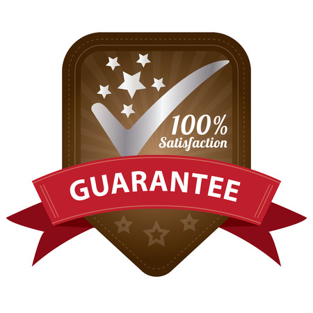 Quality Management Systems, Quality Assurance and Quality Control Concept Present By Brown 100 Percent Satisfaction Guarantee Sticker, Label, Stamp, Badge or Icon Isolated on White Background photo